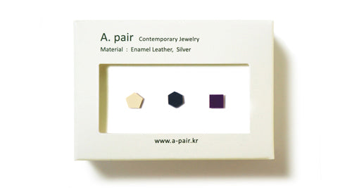Enamel Leather Earrings _  set of 3 _  pentagon / hexagon / square - A.pair Earrings_contemporary jewelry