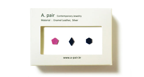 Enamel Leather Earrings _  set of 3 _  pentagon / diamond / hexagon - A.pair Earrings_contemporary jewelry
