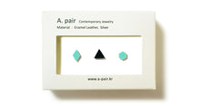 Load image into Gallery viewer, Enamel Leather Earrings _  set of 3 _  diamond  /  triangle / hexagon - A.pair Earrings_contemporary jewelry