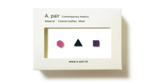 Enamel Leather Earrings _  set of 3 _  hexagon / triangle / square - A.pair Earrings_contemporary jewelry