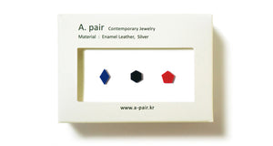 Enamel Leather Earrings _  set of 3 _  diamond / hexagon / pentagon - A.pair Earrings_contemporary jewelry