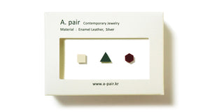 Enamel Leather Earrings _  set of 3 _  square / triangle / hexagon - A.pair Earrings_contemporary jewelry