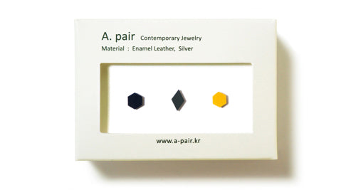 Enamel Leather Earrings _  set of 3 _  hexagon / diamond / hexagon - A.pair Earrings_contemporary jewelry