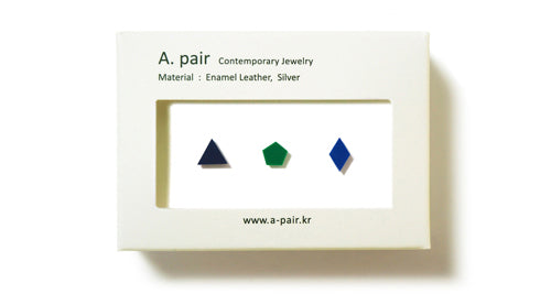 Enamel Leather Earrings _  set of 3 _ triangle / pentagon / diamond - A.pair Earrings_contemporary jewelry