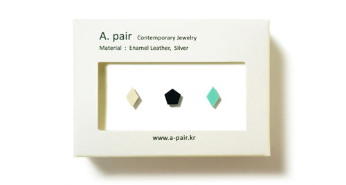Enamel Leather Earrings _  set of 3 _ diamond / pentagon / diamond - A.pair Earrings_contemporary jewelry