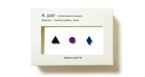 Enamel Leather Earrings _  set of 3 _  triangle / hexagon / diamond - A.pair Earrings_contemporary jewelry