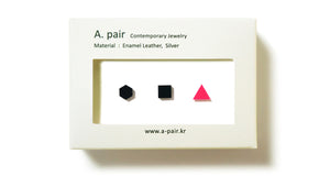 Enamel Leather Earrings _  set of 3 _  hexagon / square / triangle - A.pair Earrings_contemporary jewelry