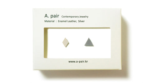 Enamel Leather Earrings _  set of 2 _ diamond / triangle - A.pair Earrings_contemporary jewelry