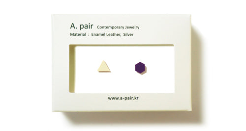 Enamel Leather Earrings _  set of 2 _ triangle / hexagon - A.pair Earrings_contemporary jewelry
