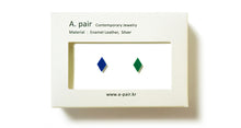 Load image into Gallery viewer, Enamel Leather Earrings _  set of 2 _ diamond / diamond - A.pair Earrings_contemporary jewelry