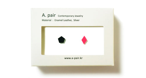 Enamel Leather Earrings _  set of 2 _ hexagon / pentagon - A.pair Earrings_contemporary jewelry