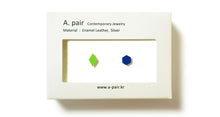 Load image into Gallery viewer, Enamel Leather Earrings _  set of 2 _ diamond / hexagon - A.pair Earrings_contemporary jewelry