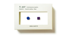 Load image into Gallery viewer, Enamel Leather Earrings _  set of 2 _ pentagon / square - A.pair Earrings_contemporary jewelry