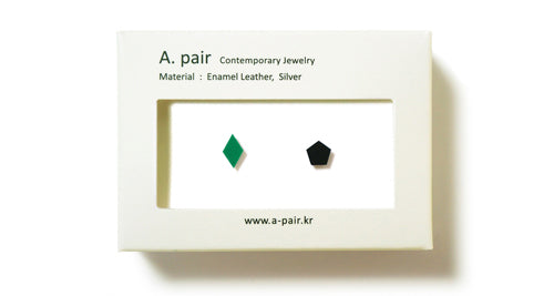 Enamel Leather Earrings _  set of 2 _ diamond / pentagon - A.pair Earrings_contemporary jewelry