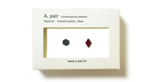 Load image into Gallery viewer, Enamel Leather Earrings _  set of 2 _ hexagon / diamond - A.pair Earrings_contemporary jewelry