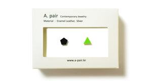 Enamel Leather Earrings _  set of 2 _ pentagon / triangle - A.pair Earrings_contemporary jewelry