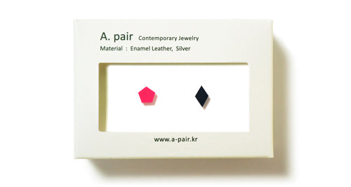 Enamel Leather Earrings _  set of 2 _ pentagon / diamond - A.pair Earrings_contemporary jewelry