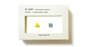 Enamel Leather Earrings _  set of 2 _ triangle / square - A.pair Earrings_contemporary jewelry
