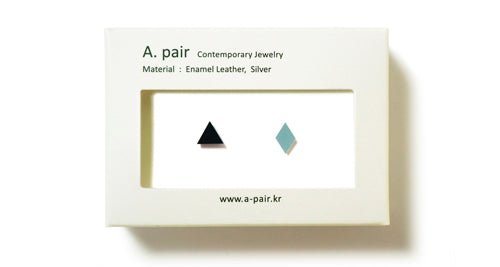 Enamel Leather Earrings _  set of 2 _ triangle / diamond - A.pair Earrings_contemporary jewelry