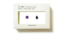 Load image into Gallery viewer, Enamel Leather Earrings _  set of 2 _ square / diamond - A.pair Earrings_contemporary jewelry