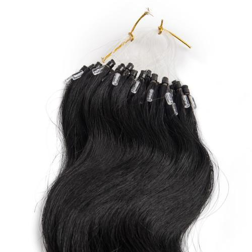 100S 1G/S BODY WAVY MICRO LOOP HAIR EXTENSIONS #1 JET BLACK