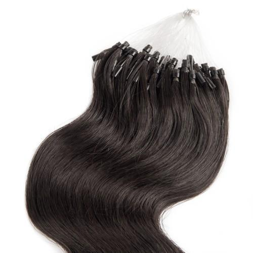 100S 1G/S BODY WAVY MICRO LOOP HAIR EXTENSIONS #1B NATURAL BLACK