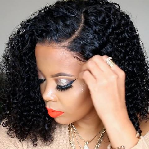 MALAYSIAN SHORT CURLY LACE FRONT WIG-180%THICK