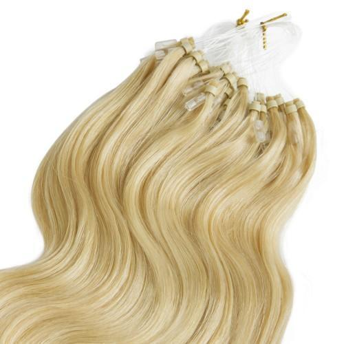 100S 1GS BODY WAVY MICRO LOOP HAIR EXTENSIONS #24 LIGHT GOLDEN BLONDE