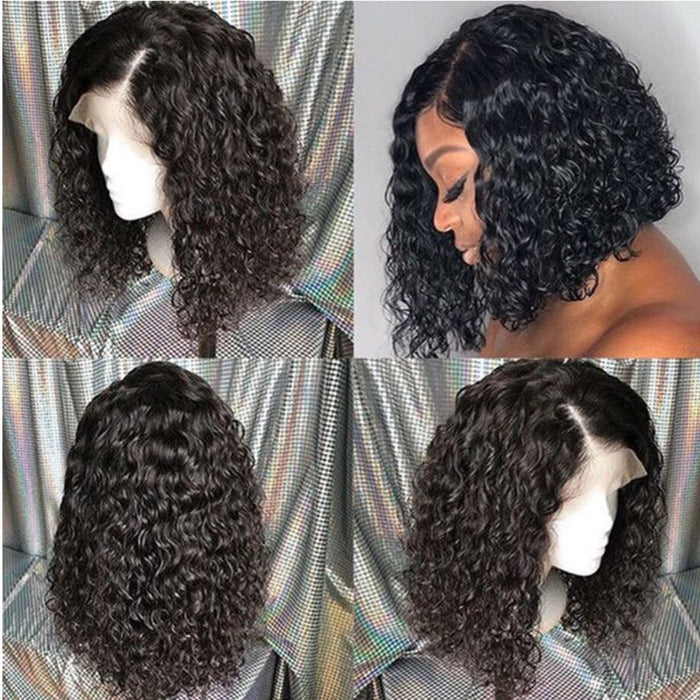 2019 Summer Charming Black Real Front Lace Short Curly Wig