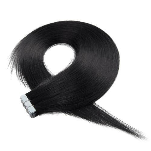 20PCS STRAIGHT TAPE IN HAIR EXTENSIONS(#1 BLACK)—100% HUMAN HAIR