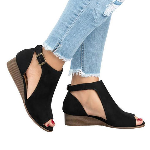 Wedge heel side hollowed-out peep-toe sandals