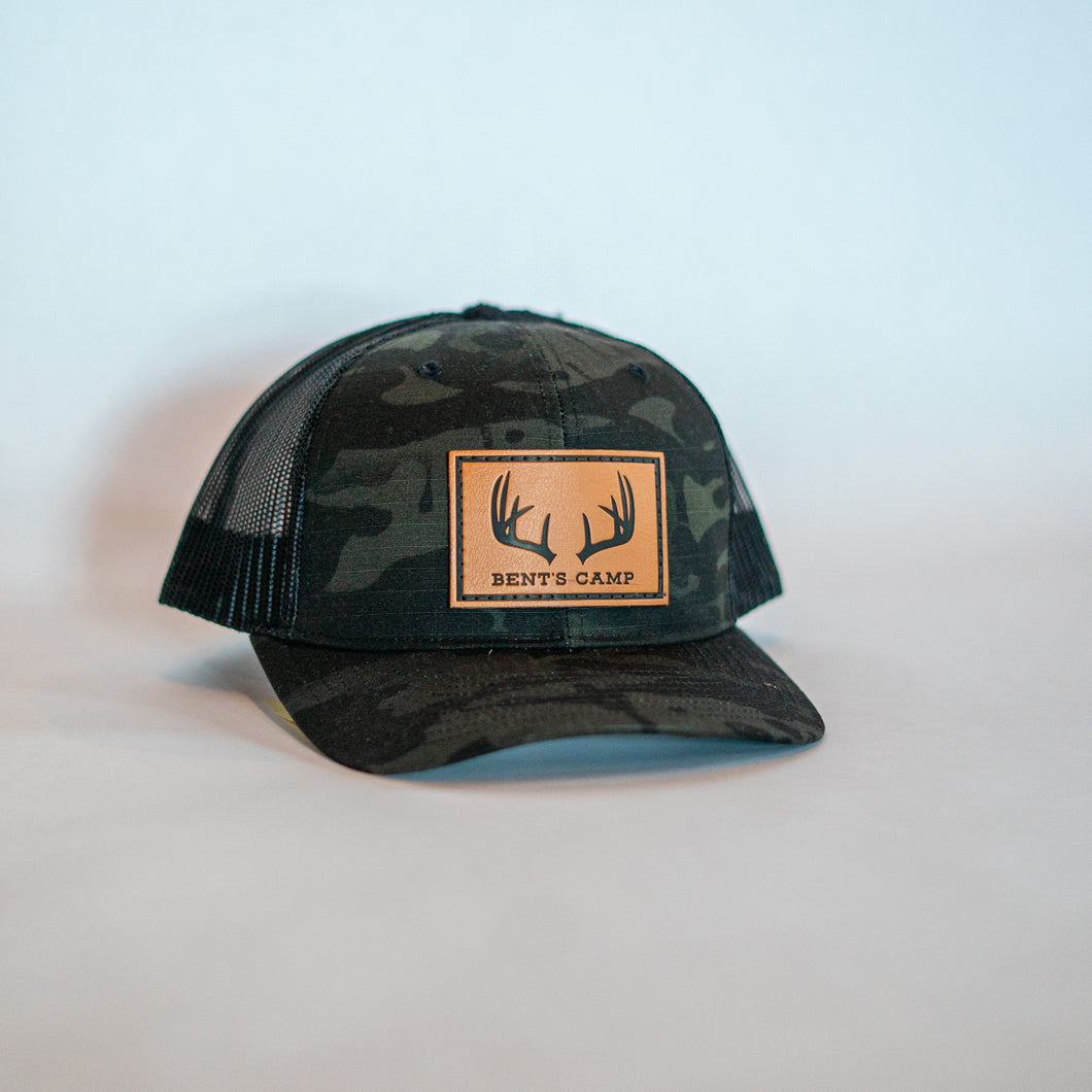 Black Camo Antler Patch Hat