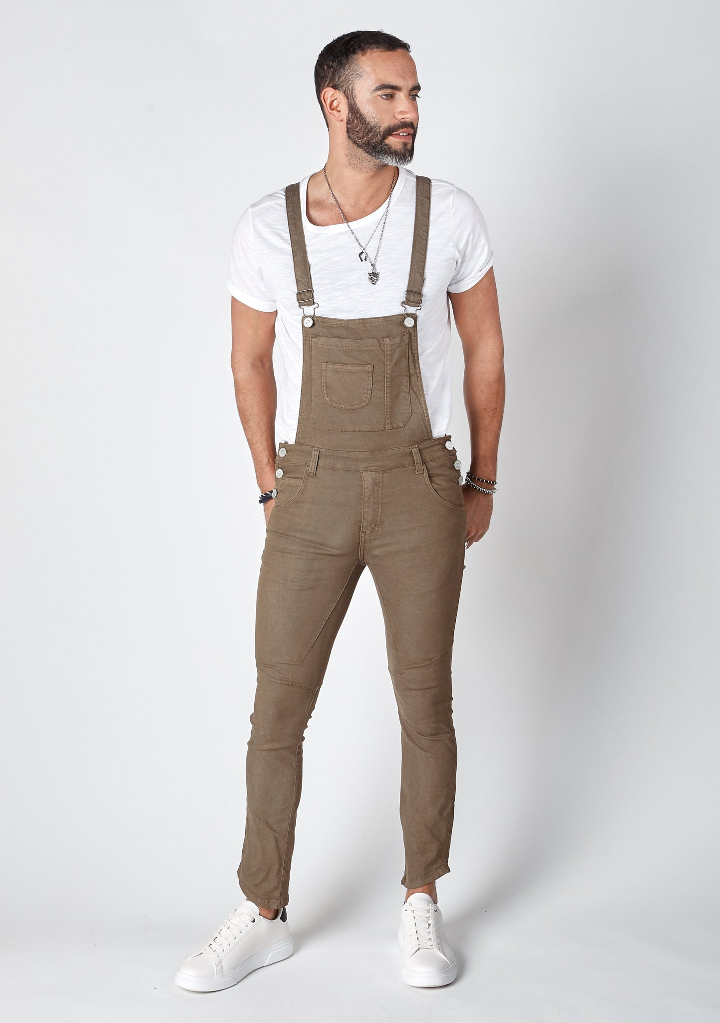 BURTON Mens Skinny Fit Bib Overalls Brown