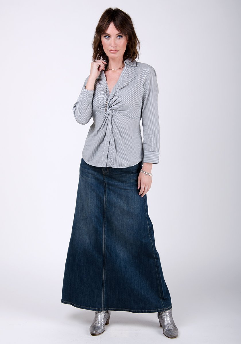 Full-frontal pose wearing WASH Clothing Company's long vintage style skirt.