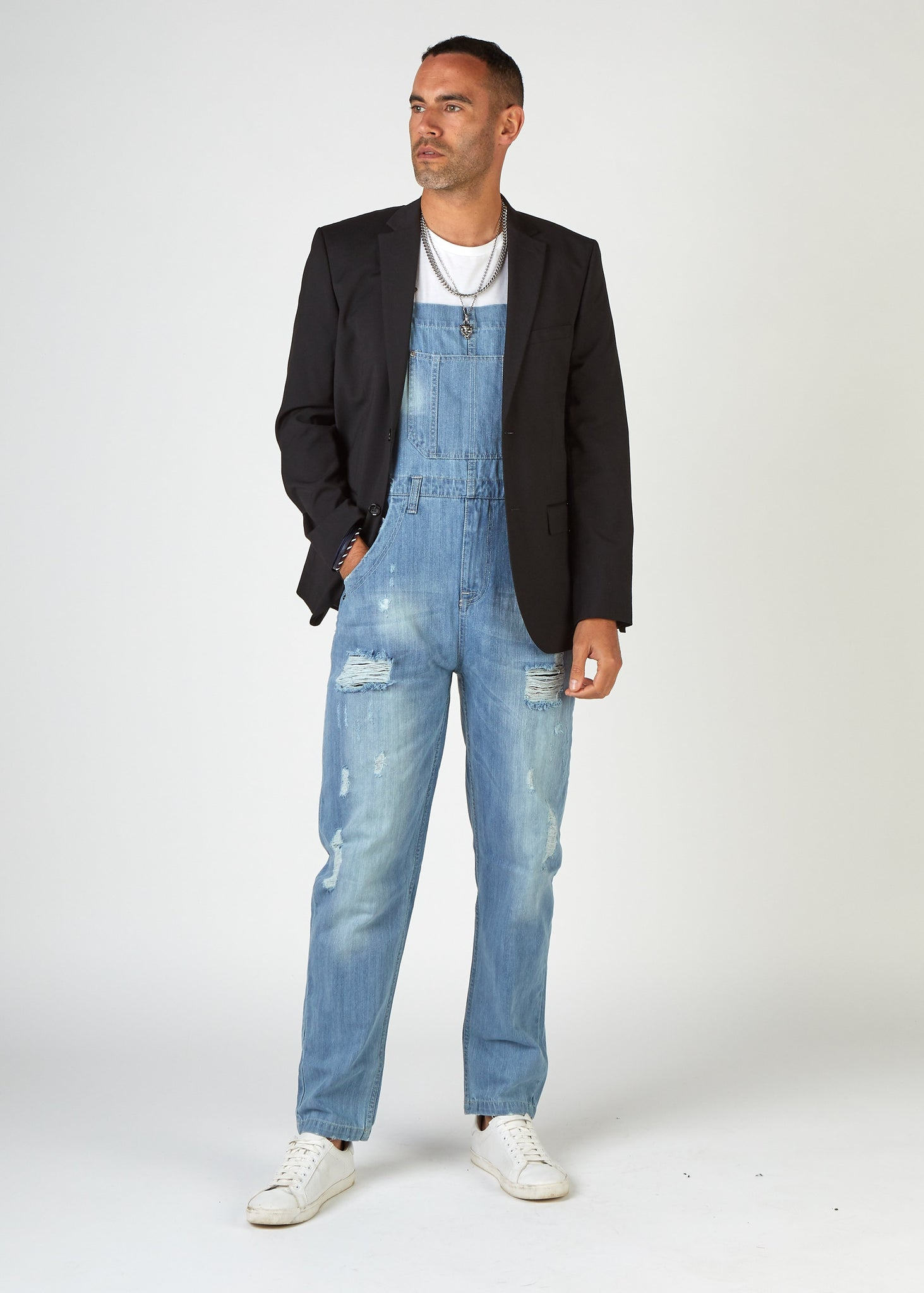 BERTIE Mens Loose Fit Bib Overalls Pale Wash with Rips