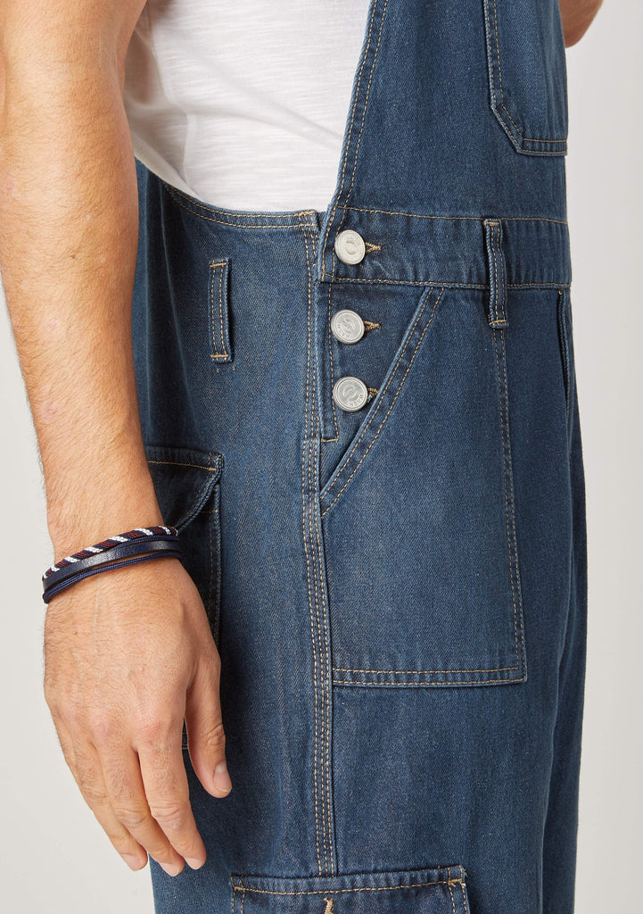 Close-up of Men's Denim Dungaree Cargo-shorts showing the side button fastening and belt loops