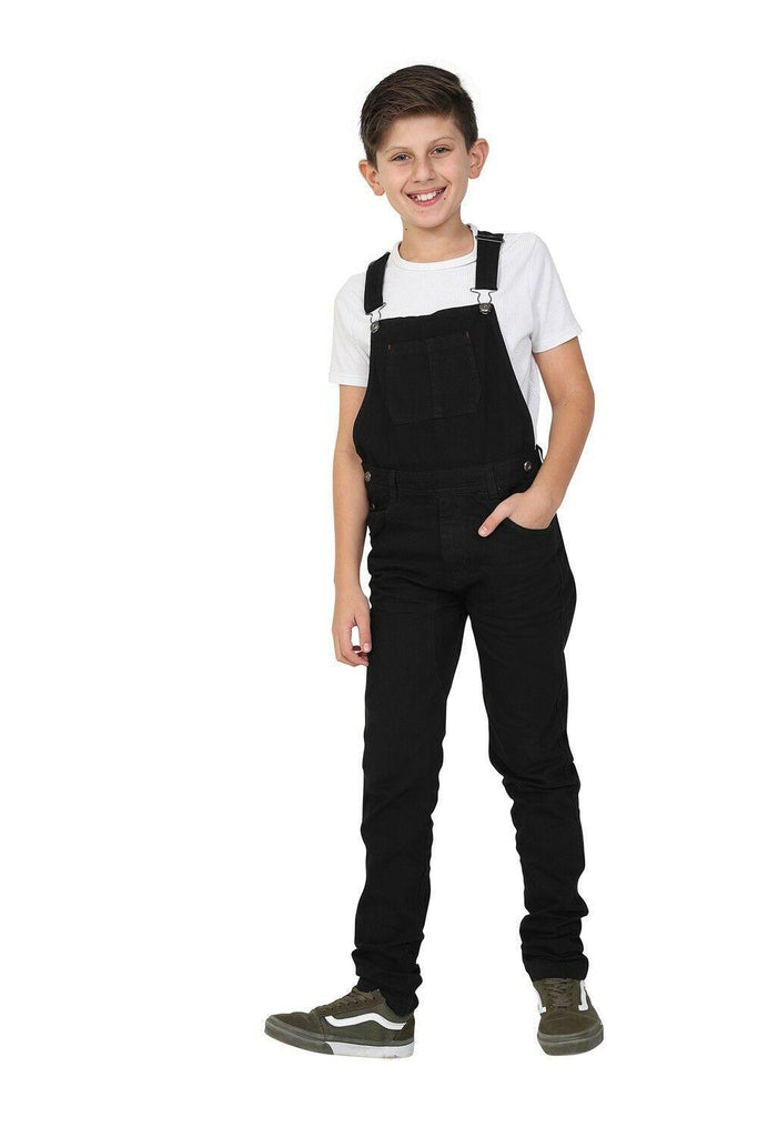 Full frontal view with right leg resting on heel. Wearing durable slim-fit overalls.
