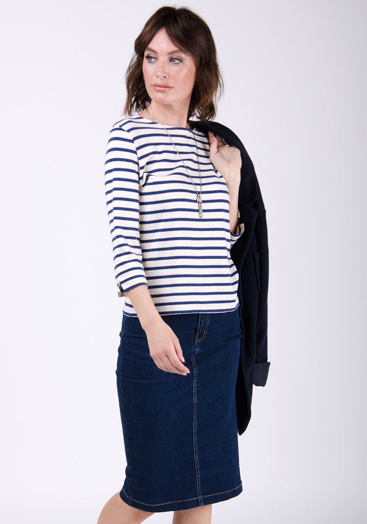 Two-thirds frontal pose, showing WASH Clothing Company's Kay style pencil skirt.