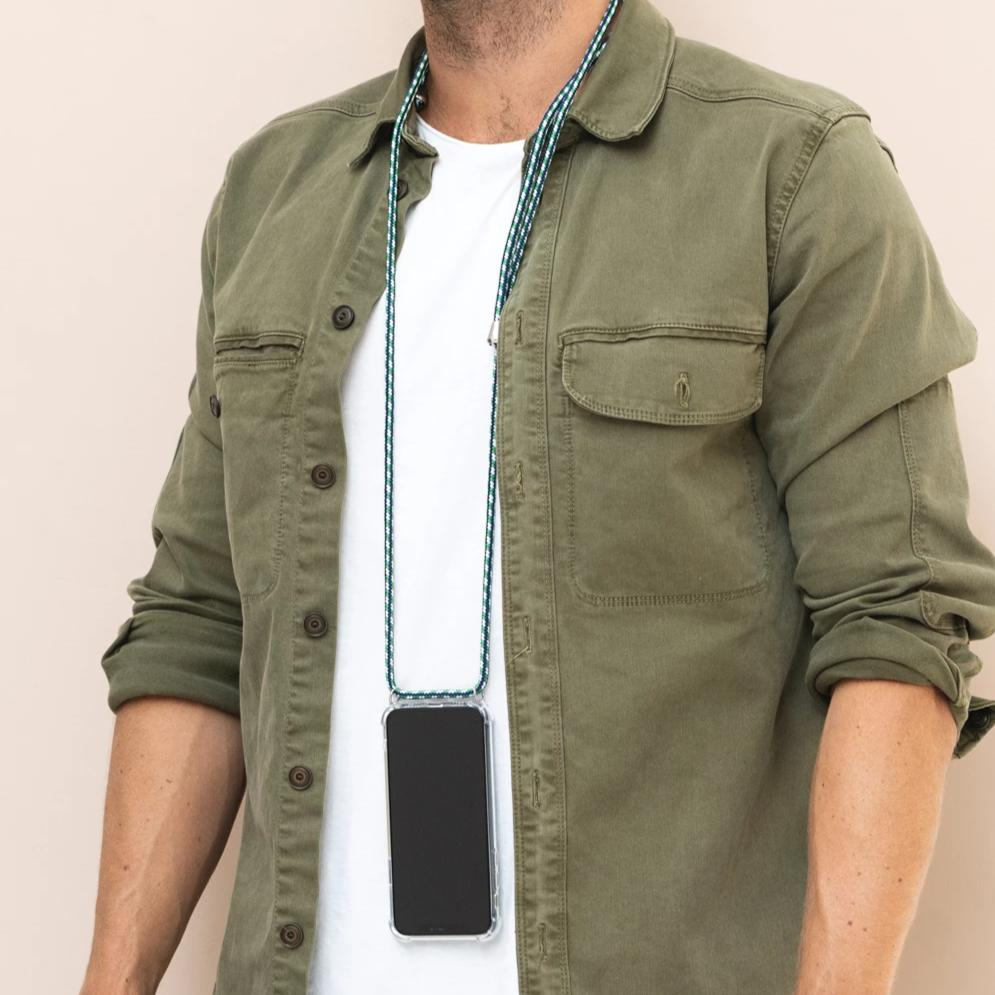 stylish Smartphone Necklace green white. Keep your hands free. Handsfree. protect your phone. protective cover