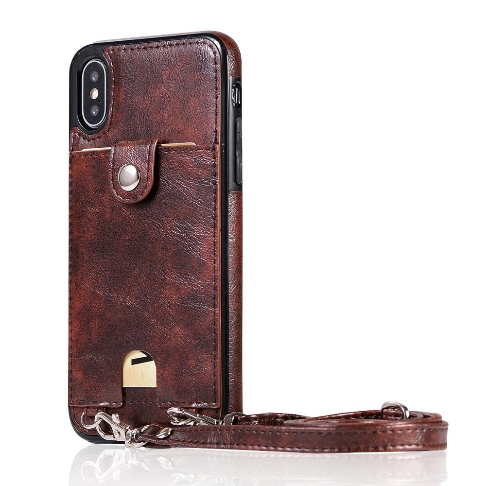 Premium Vintage PU Leather Back Case with Wallet - Brown