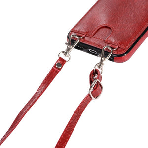 Premium PU leather Smartphone Necklace with wallet in red. Keep your hands free. Handsfree. protect your phone. protective cover smartphone lanyard