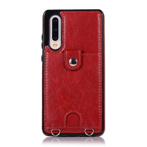 Premium Vintage PU Leather Back Case with Wallet - Red