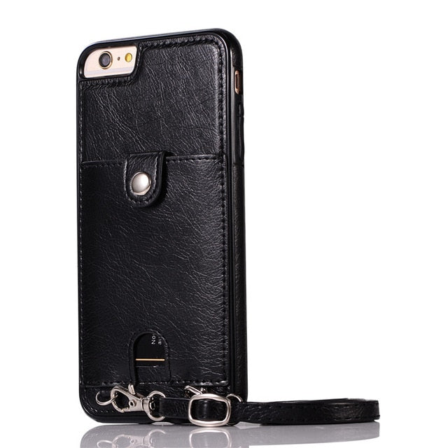 Premium Vintage PU Leather Back Case with Wallet - Black