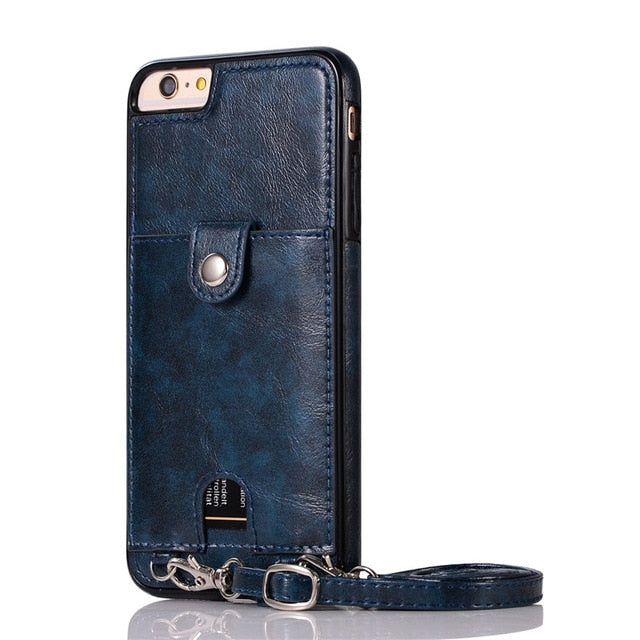 Premium Vintage PU Leather Back Case with Wallet - Blue
