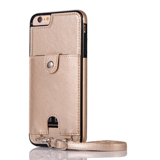 Premium Vintage PU Leather Back Case with Wallet - Gold