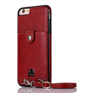 Premium PU leather Smartphone Necklace with wallet red. Keep your hands free. Handsfree. protect your phone. protective cover smartphone lanyard