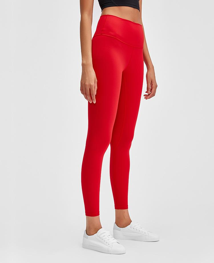Vermillion Red Rythm High Waist Leggings Yoga Pants Mindfulness-HOP