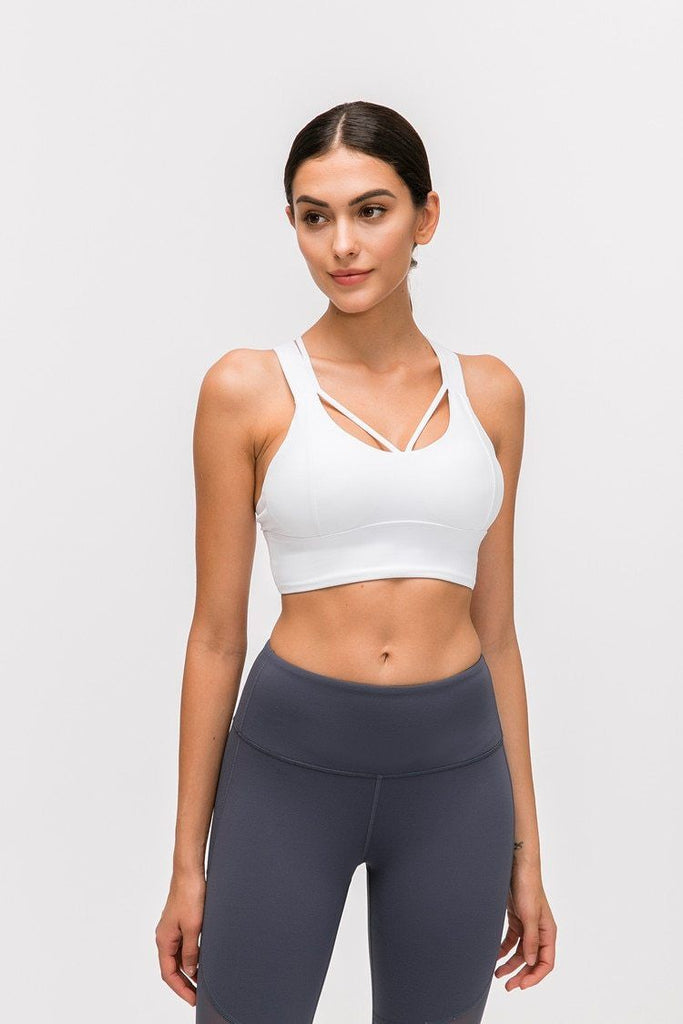 White Nadi Sports Bra bras Mindfulness-HOP