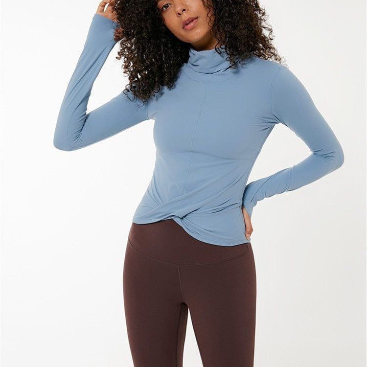 sky blue Wrap Long Sleeve Top Tops Mindfulness-HOP