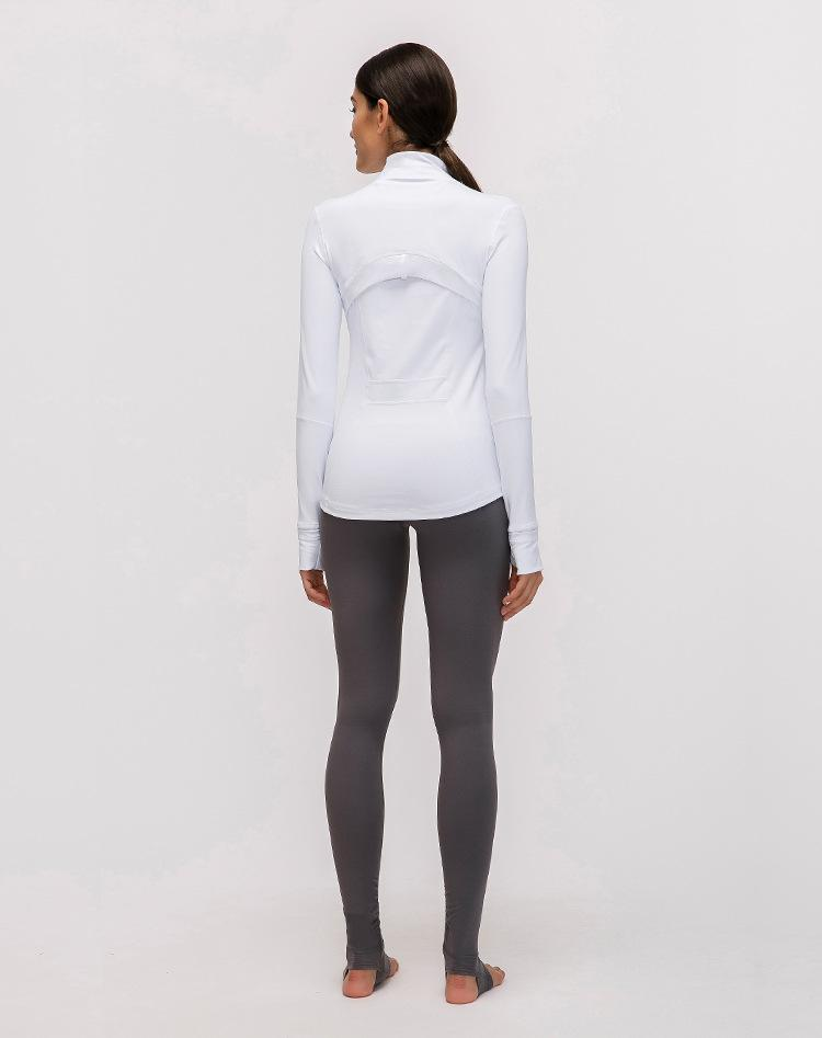 White Elevate Zipper Jacket Tops Mindfulness-HOP